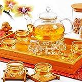 Juego de Té Juego de té Chino de Cristal Gongfu Tea Pot Set con Infusor de Filtro cálido luz del té 6 Copas Excelente Textura y Tacto (Color : Clear, Size : 600ml)