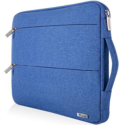Voova 15 15.6 14 Inch Laptop Sleeve Case with Handle Compatible MacBook Pro /15' Surface Book 2 /XPS 15 /Chromebook/HP/Lenovo, Waterproof Protective Cover Bag with 2 Accessory Pockets light blue