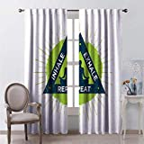Toopeek Inhale Exhale Wear-Resistant Color Curtain Spa Yoga Retreat Theme Meditating Woman Ancient Practice Philosophy Waterproof Fabric W52 x L95 Inch Lime Green Dark Blue