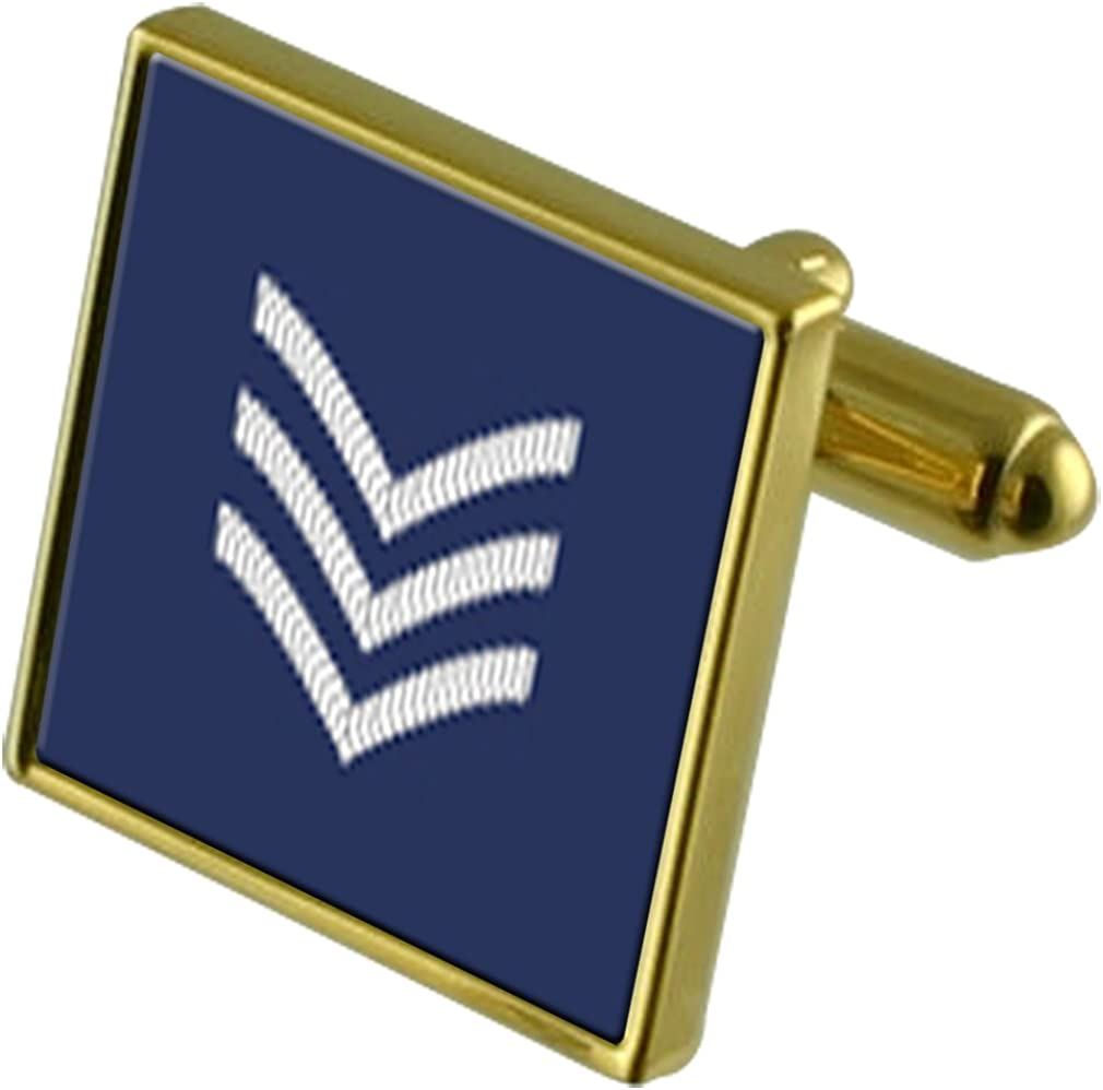 RAF Airforce Insignia Rank Award-winning store Flight C Cufflinks Gold-Tone Max 72% OFF Sergeant