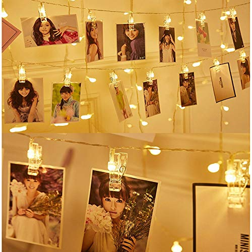 LED String Lights with Photo Clips Battery Operated Indoor Outdoor Decorative Fairy Lights for Bedroom, Patio, Dorm Room,Birthday, Wedding, Party, with 20 LEDs (2 Pack,10 LEDs Each)