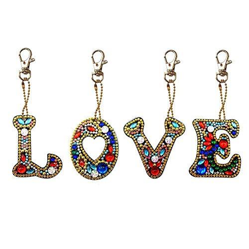 Jestang 5D-DIY-Schlüsselanhänger-Set, vollständiger Bohrer, Diamant-Malerei-Set für Erwachsene, Kinder, Tasche, Rucksack, Schultertasche, Buchstabe, Liebe, 4 Stück