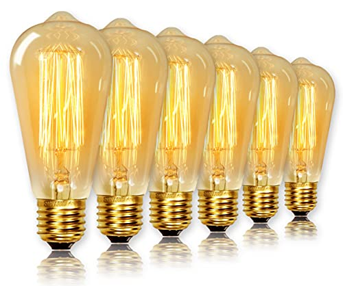 ST64 Vintage Light Bulbs with E27 Edison Screw Cap, Squirrel Cage Shaped...