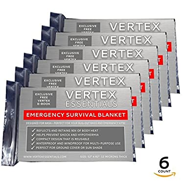 Vertex Essentials Emergency Blanket (6-Pack), Silver 52  x 82 . Designed for NASA with up to 90% Heat Retention. Waterproof, Mylar Thermal Blankets for Backpacking, First Aid Kit, Bug Out Bag