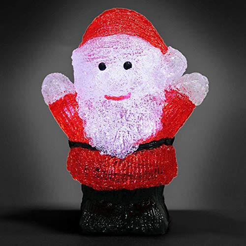 Deuba Papá Noel de LED adorno de Navidad acrilico figura decorativa iluminación decoración interior exterior con pilas