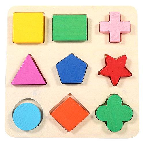 Juguete de bloque de madera colorido para niños Niños, rompecabezas de fósforo de tablero de madera pintada Forma de geometría, aprendizaje temprano Juguete de bloque de edificio educativo juguete de