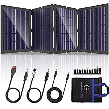 POWOXI Portable Solar Panel 100W Foldable Solar Panel Charger Kit for Jackery Power Station Goal Zero Yeti Power Station uaoki Portable Generator USB Devices with USB and DC Port