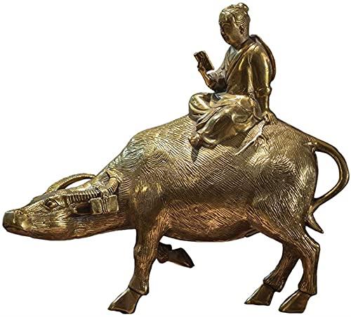 YIHANGG Modelo de Escultura de Vaca, Paseo de cría de Animales, Adornos rústicos de Cobre Tallado, Manualidades, hogar, Negocio, colección de Muebles Chinos, Regalos conmemorativos