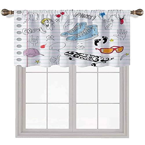 Doodle Valances - Cortinas para ventanas (142,2 x 35,5 cm), diseño de cuaderno con una variedad de tratamiento de ventana, decoración de cortinas, color negro y azul claro