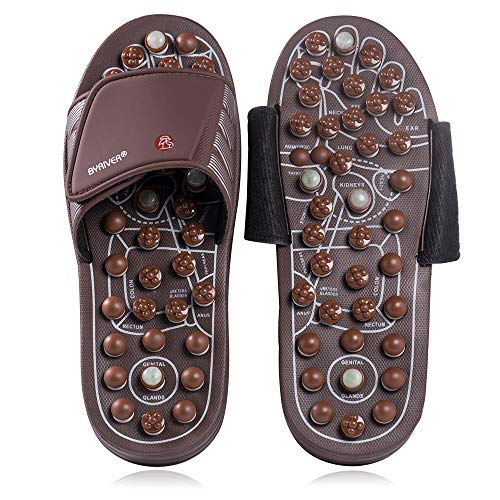 BYRIVER Acupressure Plantar Fasciitis Foot Massager, Jade Stone Indoor Massage Slippers Shoes, Reflexology Sandals Relaxation Gifts for Men Women(03S)