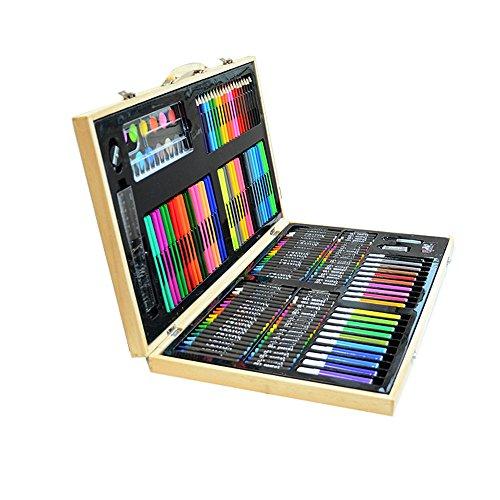 LERDBT Aquarell Pinselstifte DREI-in-One Malerei Briefpapier 180 teiliges Set Qualität Holzkiste Malerei Set Kinder Graffiti Werkzeuge Crayon für Erwachsene Künstler Kinder Geschenk
