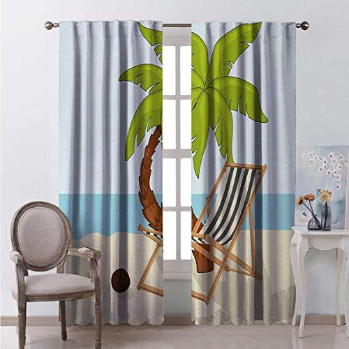 Toopeek - Cortinas opacas con bolsillo para barra de playa, diseño de palmeras, cocoteros y tumbonas en arena, diseño de temporada de verano, 2 paneles de 72 x 72 pulgadas, multicolor