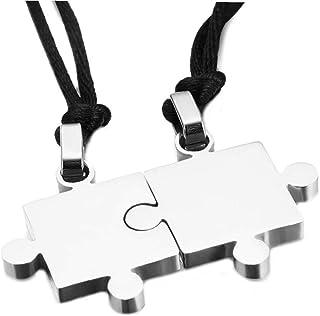 Catena Regolabile Jigsaw Collana Pendente Dell'acciaio Inossidabile Di Puzzle Delle Coppie Di Amore Articoli Donne Amanti ...