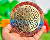 ABHISUBYA Orgonite Water Charging Plate –Chakra Balancing Coaster and Positive Energy Generator Flower of Life and with 7 Healing Crystals for E Energy Protection (4 Inch Diameter)