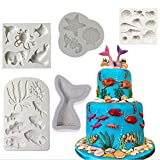 Silicone Ocean Animals Fondant Mould Sea Shell, Caballito de mar, Pescado, Pulpo, Estrella de...