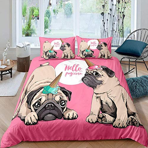 Matasuer Bedding Brushed Microfibre Duvet Cover - Pink Cute Animal Pet Pug Dog - King (220 X 230 Cm) Easy Care Anti-Allergic Soft & Smooth With Pillow Cases - Gift For Teens Girls