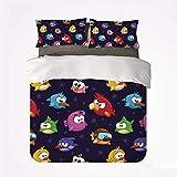 Set copripiumino divertente e comodo 3 set di biancheria da letto, figura di uccelli volanti arrabbiati con varie espressioni Gioco giocattolo per bambini Immagine artistica infantile per hotel