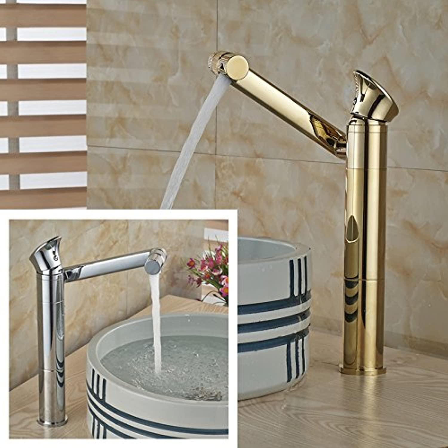 U-Enjoy New Brass 360 Top Quality redating Swivel Bathroom Sink Faucet Single Lever Chrome & gold Mixer Taps (Polished Chrome)