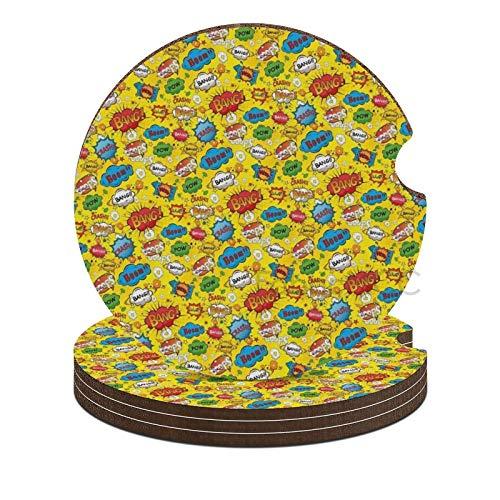 Posavasos de coche para bebidas, linda alfombrilla de taza de coche, diseño de burbujas de humor vivo Bang Boom Bam Pow Fiction, posavasos con impresión multicolor para accesorios de auto