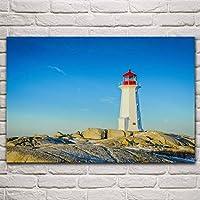 海岸灯台入り江ノバ青空海景自然風景リビングルーム家の壁アート装飾ポスター60x90cm(23.6x35.4インチ)フレームなし