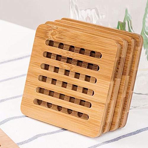 Posavasos Coaster Cojín de Aislamiento de Madera Bamboo Table Mat Home Anti-Hot Pad Coaster Redondo (4 Paquetes) Posavasos para Regalo (Color : Square)