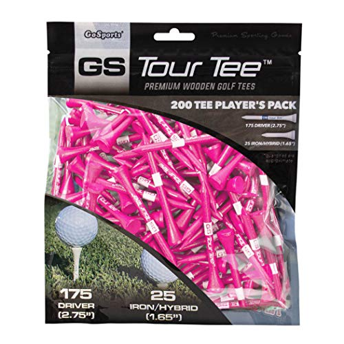 GoSports Tour Tee Premium Wooden Golf Tees | 200 Tee Player's Pack Driver and Iron/Hybrid Tees | Choose Your Tee Color, Pink