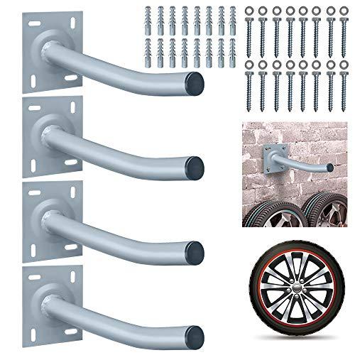 NAIZY 4er Reifenhalter Wandhalterung Autoreifen Wandhalter Set inkl. Montage Schraubensatz für Garage Keller Werkstätten Tragkraft 50kg (für 8 Reifen)
