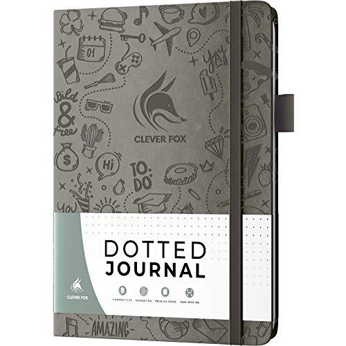 Clever Fox Dotted Journal 2.0 – Kompaktes Planungs- und Skizziernotizbuch, 120 g/m² Dickes, nicht ausgelassenes Papier – Planer mit Stiftschlaufe, Tasche, Bänder, Aufkleber – A5 – Grau