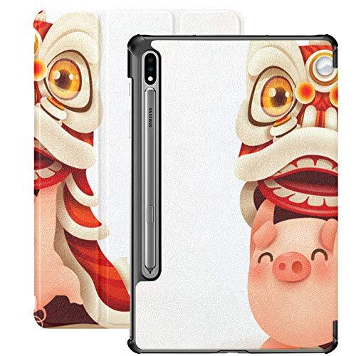 Año Nuevo chino cerdo divertido Galaxy 7 caso para Samsung Galaxy Tab S7/s7 Plus Galaxy S7 Plus caso soporte contraportada Samsung Tablets caso para Galaxy Tab S7 11 pulgadas S7 Plus 12.4 pulgadas