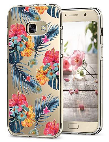 Hülle Kompatibel Samsung Galaxy A5 2017 Hüllen, Galaxy A3 2017 Schutzhülle Durchsichtig Silikon Handyhülle Clear TPU Schutz Handytasche Blumen Muster Case Cover für A5 2017 (7, Galaxy A5 2017)