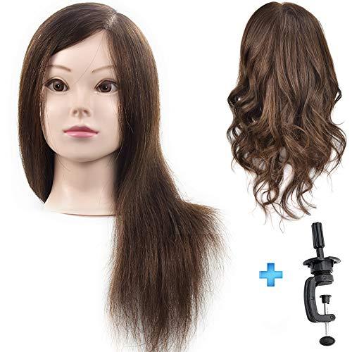 ErSiMan Professioneller weiblicher Frisierkopf mit Haar, 100 % Echthaar, 45,7 cm, Modell-Kopf für Dauerwelle, Färben, Haarfrisuren, Friseur-Übungskopf mit Tischklemme