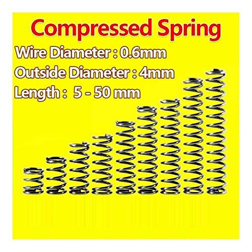 XYBW Druck Spring Release Frühling Druckfeder Rückstellfeder Drahtdurchmesser 0,6 mm, Außendurchmesser 4mm mechanische Feder (Color : 20mm (10Pcs))
