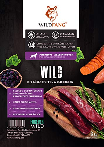 Wildfang® | Premium Trockenfutter für Hunde | natürliches Hundefutter, getreidefrei und ohne künstliche Zusatzstoffe … (Wild mit Süsskartoffel & Maulbeere, 2 kg)