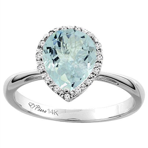 Sabrina Silver 14K White Gold Natural Aquamarine & Diamond Halo Engagement Ring Pear Shape 9x7 mm, Size 9.5