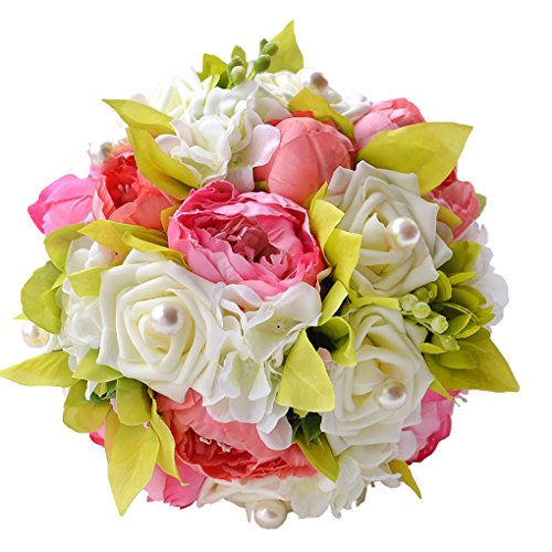 Quibine Bouquet de Pivoines Pink Artificielles Rose Blanc ornée Perle