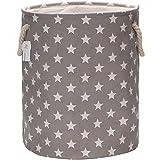 Sea Team - Cesta de almacenamiento de tela de lino y lona de 50 cm, tamaño grande, con asas de cuerda, color gris