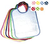 Set de 6 baberos de rizo de algodón con elástico y tela Aida MISTO QUADRETTI
