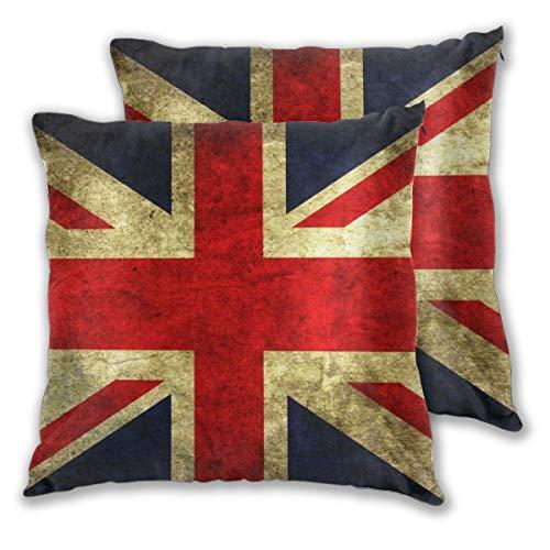 Rockboy Juego de 2 Fundas de Almohada, Bandera Inglesa Vintage, 18x18 Pulgadas