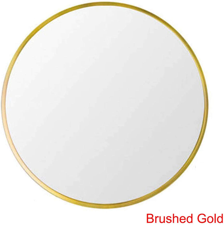 Bathroom Mirror, European Round Wall Mirrors, Large Aluminum Frame Vanity Mirror, Metal Border, Brushed gold, matt Black
