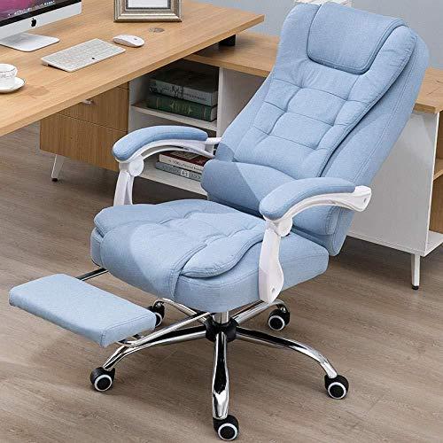 Computerstoel Stof Home E-Sports Comfort Game Chair Draaistoel Comfortabele rugkruk Stoel Bureaustoel Blauw