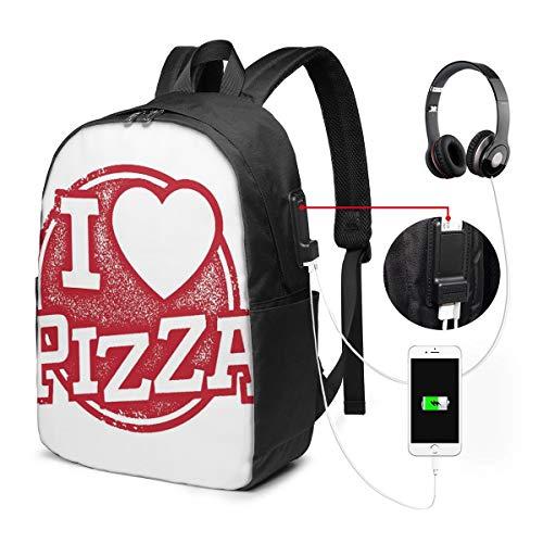Usicapwear rugzak, Grunge Ik hou van pizza letters met hart vorm en rubber stempel voedsel thema