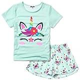 Girls Pjs Sets Unicorn Face Pajamas Short Sleeve Summer Cotton Night Suits Green