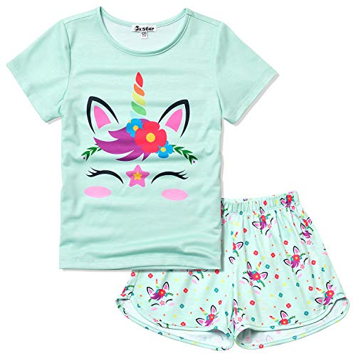 Unicorn Pajamas for Girls 8 9 Little Kids Pjs Sets Short Sleeve Night Shirts