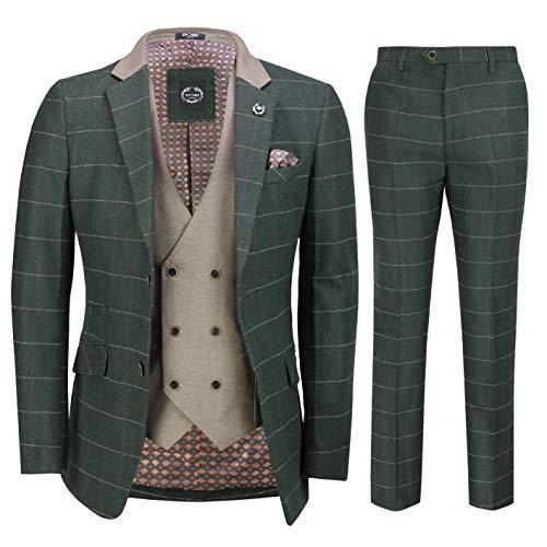 Classique 3 Pièces en Tweed Costume Vert Olive Chevrons Hommes Vérifier Élégant Retro en Forme Tailored [SUIT-EVAN-GREEN-46UK]