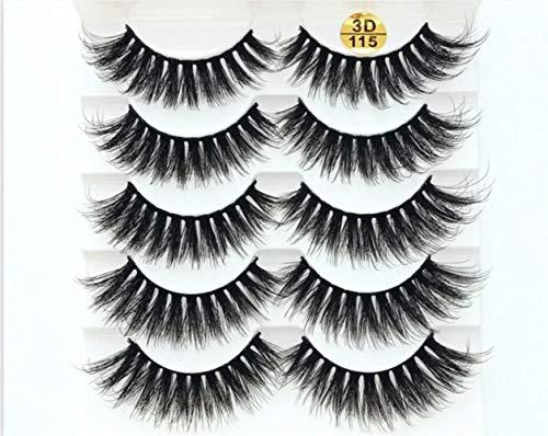 KADIS 5 Pairs Eyelashes 3D False Lashes Thick Crisscross Makeup Eyelash Extension Natural Volume Soft Fake Eye Lashes,115