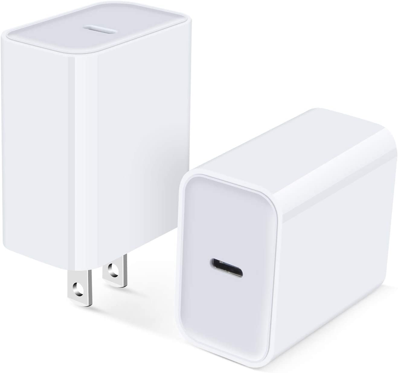 USB C Wall Charger, 2Pack 18W PD Fast Charging Block Brick Box Type C Wall Adapter Plug for iPhone 12 Mini/12 Pro Max/SE/11 Pro/XR/X, iPad, Samsung Galaxy S21 S20 Note20 A10E A51 A71 Pixel 5 4a 4 3XL