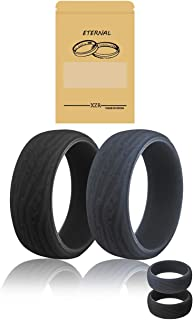 APEG Silicone Wedding Ring for Men,Tree Texture Series Comfortable and Durable Wedding Ring Replacement,Rubber Wedding Bands for Gym Sports Leisure Work, Two Rings Pack