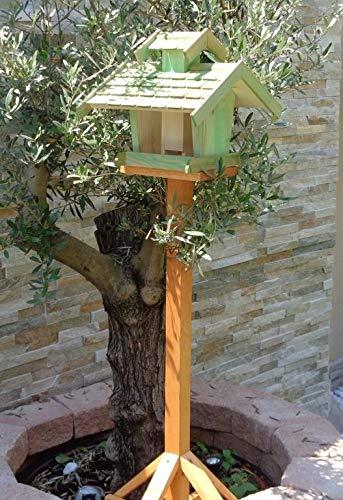 Vogelhaus+Ständer-Futterhaus-K-BEL-VOVIL4-MS-moos002 Großes PREMIUM-Qualität,Vogelhaus,KOMPLETT mit Ständer wetterfest lasiert, WETTERFEST, QUALITÄTS-Standfuß-aus 100% Vollholz, Holz Futterhaus für Vögel, MIT FUTTERSCHACHT Futtervorrat, Vogelfutter-Station Farbe grün moosgrün lindgrün natur/grün, Ausführung Naturholz MIT TIEFEM WETTERSCHUTZ-DACH für trockenes Futter