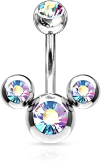 Triple Bubble Navel Ring 316L Surgical Steel