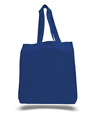 (3 Pack) Set of 3 Cotton Tote Bags Wholesale with Bottom Gusset (Royal)